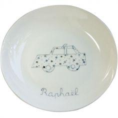 Assiette creuse en porcelaine voiture grise (personnalisable)