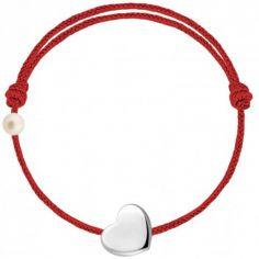 Bracelet cordon Coeur et perle rouge (or blanc 750°)