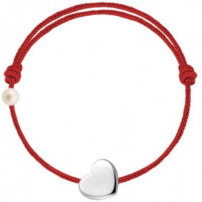 Bracelet cordon Coeur et perle rouge (or blanc 750°)  par Claverin