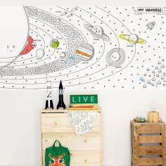 Stickers muraux à colorier Espace (115 x 240 cm)