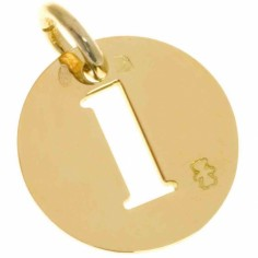 Pendentif Lucky number rond 15 mm (or jaune 750°)