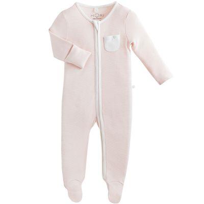 Pyjama léger Zip Up rose clair (6-9 mois)  par MORI