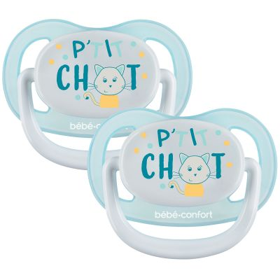 Lot de 2 sucettes physiologiques Air confort P'tit chat (6-18 mois)  par Bébé Confort