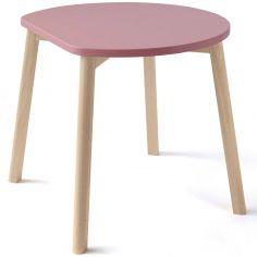 Table enfant demi-lune rose
