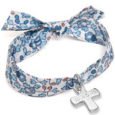 Bracelet maman Liberty avec croix personnalisable (argent 925°)