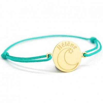 Bracelet cordon Lune personnalisable (plaqué or)  par Petits trésors