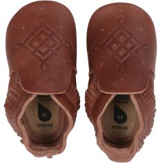 Chaussons bébé en cuir Soft soles frange marron (3-9 mois)
