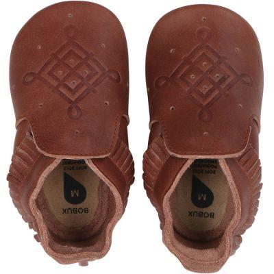 Chaussons bébé en cuir Soft soles frange marron (3-9 mois)  par Bobux