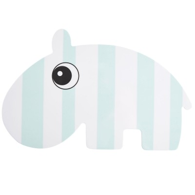 Assiette plate Nozo le rhino à rayures bleu  par Done by Deer