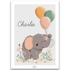 Affiche A4 Éléphant et les ballons (personnalisable)