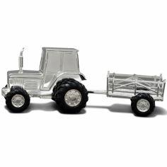 Tirelire Tracteur personnalisable (métal argenté)