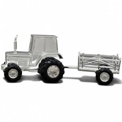 Tirelire Tracteur personnalisable (métal argenté)  par Daniel Crégut