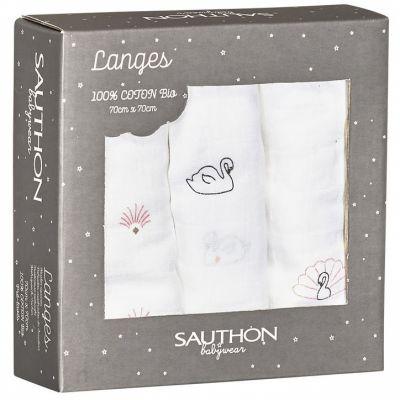 Lot de 3 langes en coton bio cygne Baby Swan (70 x 70 cm)  par Sauthon