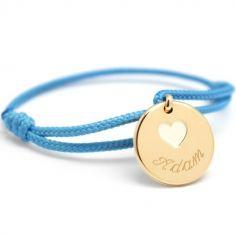 Bracelet cordon Coeur ivoire plaqué or 10-14 cm (personnalisable)