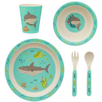 Coffret repas en bambou Shelby le requin (5 pièces)