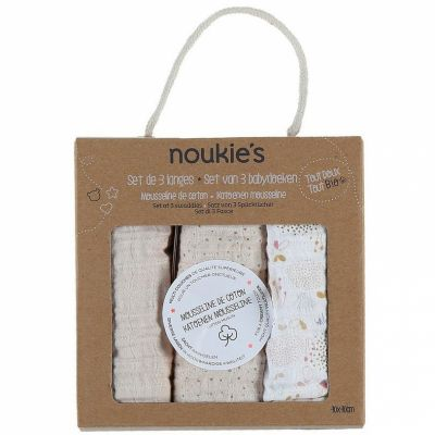 Lot de 3 langes en mousseline de coton bio Lina & Joy (75 x 75 cm)  par Noukie's