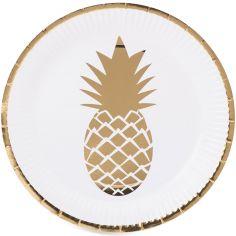Assiettes en carton Tropi Chic ananas (8 pièces)