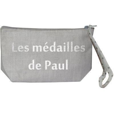 Pochette à bijoux gris (personnalisable)  par Les Griottes