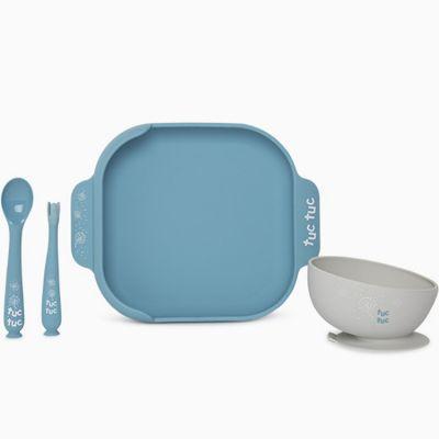Coffret repas en silicone Little forest bleu (4 pièces)  par Tuc Tuc