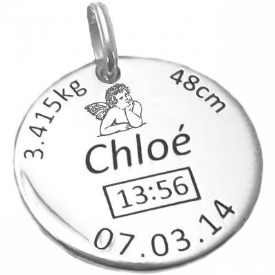 Médaille de naissance ange personnalisable (argent 925° rhodié)