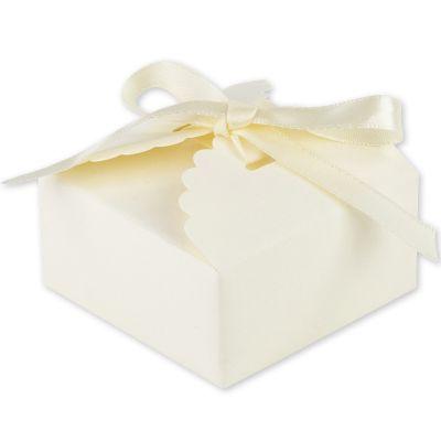Lot de 10 boîtes à dragées festonnées ivoire