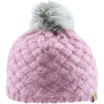 Bonnet en tricot à pompon rose (0-6 mois)