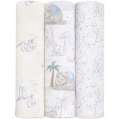 Lot de 3 maxi langes My Darling Dumbo (120 x 120 cm)
