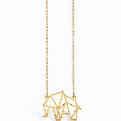 Collier chaîne 40 cm pendentif Origami éléphant 19 mm (vermeil doré)  par Coquine