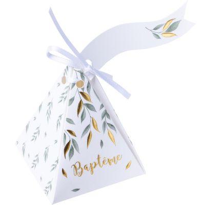 Lot de 10 contenants à dragées en carton Baptême de rêve