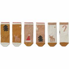 Lot de 3 paires de chaussettes Silas Noël rose et moutarde (0-6 mois)