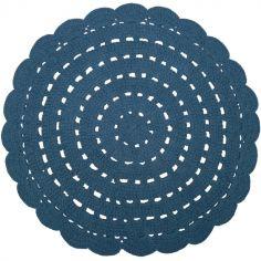 Tapis lavable rond Alma crochet bleu (120 cm)