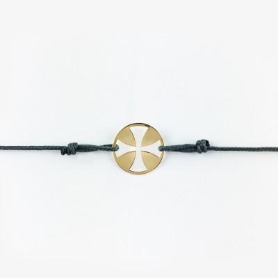 Bracelet cordon bébé médaille Mini Croix égale 10 mm (or jaune 750°) Maison La Couronne