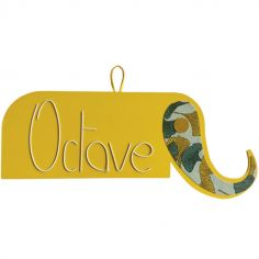 Plaque de porte Zamino Éléphant jaune (personnalisable)