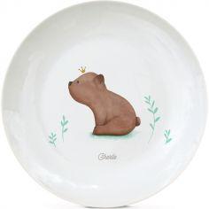Assiette en porcelaine Ourson brun (personnalisable)