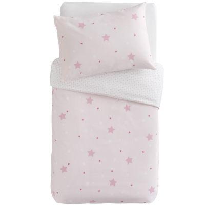 Housse de couette + taie d'oreiller imprimé Little stars étoiles roses (100 x 140 cm)   par Domiva