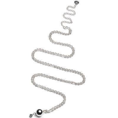 Mini bola sur chaîne perle grise (plaqué argent)
