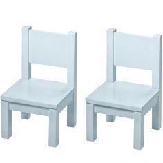 Lot de 2 chaises enfant en bois massif bleu gris