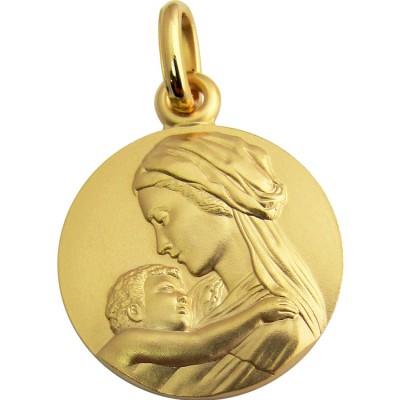 Médaille Vierge à l'enfant tendresse 18 mm (or jaune 750°) Martineau