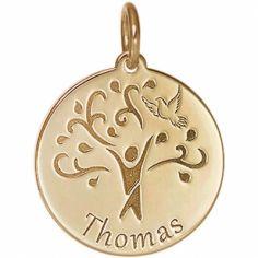 Médaille de naissance Thomas personnalisable 17 mm (or jaune 750°)