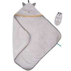 Cape de bain + gant chat Les Moustaches personnalisable (80 x 80 cm)