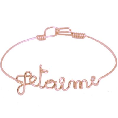 Bracelet Je t'aime en fil Gold-filled or rose 585° (16 cm)  par Hava et ses secrets