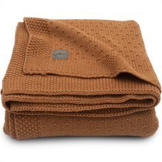 Couverture bébé en coton Bliss knit caramel (75 x 100 cm)