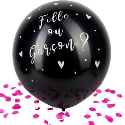 Ballon géant Gender reveal Fille confettis roses  par Arty Fêtes Factory