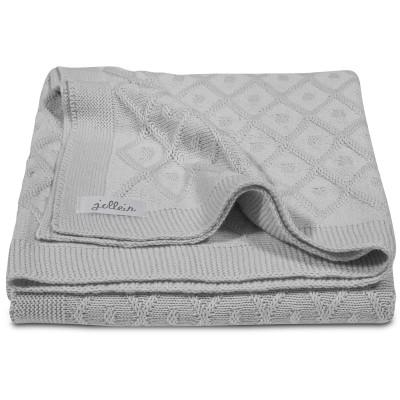 couverture en coton tricot diamond knit grise 75 x 100 cm par jollein. Black Bedroom Furniture Sets. Home Design Ideas