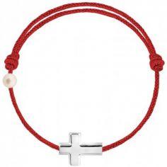 Bracelet cordon Croix et perle rouge (or blanc 750°)