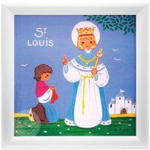 Tableau religieux St Louis Saint Patron personnalisable (15 x 15 cm)  par Atelier de Rosbo