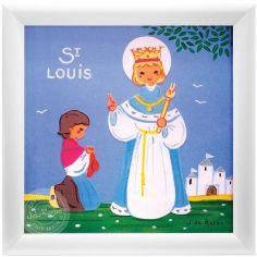 Tableau religieux St Louis Saint Patron personnalisable (15 x 15 cm)