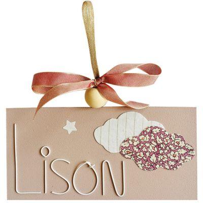 Plaque de porte Liberty Nuage rose (personnalisable) Marie-Laure Créations