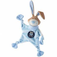 Doudou plat lapin signe gémeaux bleu (19 cm)