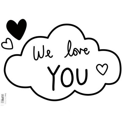 stickers nuages noirs et blancs love you by aless baylis. Black Bedroom Furniture Sets. Home Design Ideas